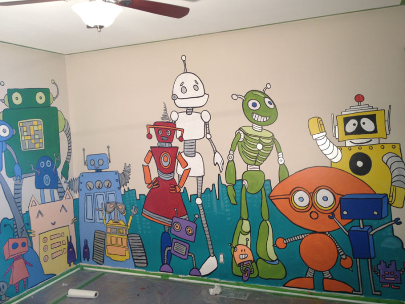 Robot Mural on Kid's Wall