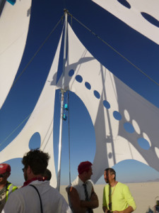 NSS Triton, close up of sails.