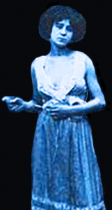 "The blue lady, adapted from an image of a turn of the century ""seamstress""."