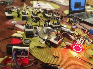 Motes' colors were animated and coordinateed using arduinos and radios transceivers.